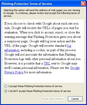 Gone phishing? Privacy issues with anti-phishing technology.