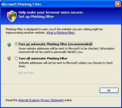 Internet Explorer 7 automatic website checking