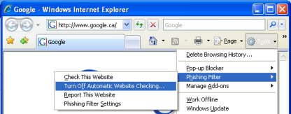 How to turn off automatic web site checking (anti-phishing) in IE7